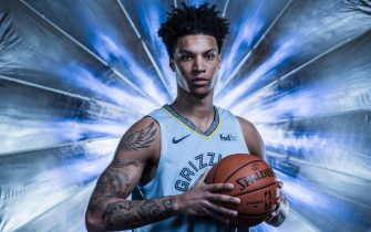 MEMPHIS, TN - SEPTEMBER 30: Brandon Clarke #15 of the Memphis Grizzlies poses for a portrait during media day on September 30, 2019 at FedEx Forum in Memphis, Tennessee. NOTE TO USER: User expressly acknowledges and agrees that, by downloading and/or using this photograph, user is consenting to the terms and conditions of the Getty Images License Agreement. Mandatory Copyright Notice: Copyright 2019 NBAE (Photo by Michael J. LeBrecht II/NBAE via Getty Images)