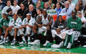 BOSTON - NOVEMBER 17:  Ray Allen #20, Paul Pierce #34, Shaquille O'Neal #36, Rajon Rondo #9 and Kevin Garnett #5 of the Boston Celtics watch the game the Washington Wizards on November 17, 2010 at the TD Garden in Boston, Massachusetts.  NOTE TO USER: User expressly acknowledges and agrees that, by downloading and or using this photograph, User is consenting to the terms and conditions of the Getty Images License Agreement. Mandatory Copyright Notice: Copyright 2010 NBAE  (Photo by Brian Babineau/NBAE via Getty Images)