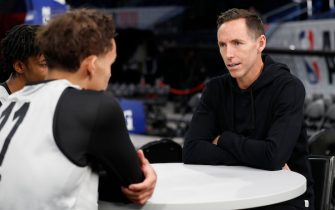 CHICAGO, IL - FEBRUARY 14: Former NBA Player Steve Nash sits down with Trae Young #11 of the Atlanta Hawks during Rising Stars Media Availability and Practice as part of 2020 NBA All-Star Weekend on February 14, 2020 at Wintrust Arena in Chicago, Illinois. NOTE TO USER: User expressly acknowledges and agrees that, by downloading and/or using this Photograph, user is consenting to the terms and conditions of the Getty Images License Agreement. Mandatory Copyright Notice: Copyright 2020 NBAE (Photo by Tyler Kaufman/NBAE via Getty Images)