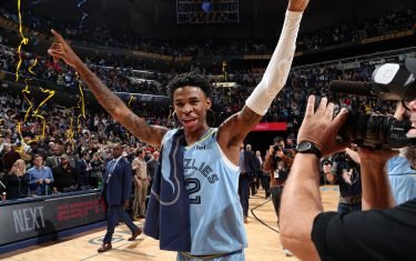 MEMPHIS, TN - NOVEMBER 15: Ja Morant #12 of the Memphis Grizzlies celebrates after the game against the Utah Jazz on November 15, 2019 at FedExForum in Memphis, Tennessee. NOTE TO USER: User expressly acknowledges and agrees that, by downloading and or using this photograph, User is consenting to the terms and conditions of the Getty Images License Agreement. Mandatory Copyright Notice: Copyright 2019 NBAE (Photo by Joe Murphy/NBAE via Getty Images)
