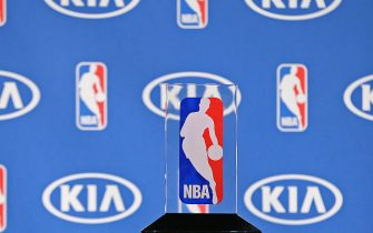 MINNEAPOLIS, MN - MAY 16:  A close up shot of the Eddie Gottlieb trophy as Karl-Anthony Towns #32 of the Minnesota Timberwolves is named the 2015- 2016 Kia NBA Rookie of the Year during a press conference on May 16, 2016 at Target Center in Minneapolis, Minnesota. NOTE TO USER: User expressly acknowledges and agrees that, by downloading and or using this Photograph, user is consenting to the terms and conditions of the Getty Images License Agreement. Mandatory Copyright Notice: Copyright 2016 NBAE (Photo by David Sherman/NBAE via Getty Images)