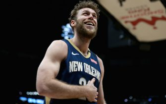 NEW ORLEANS, LOUISIANA - JANUARY 31: Nicolo Melli #20 of the New Orleans Pelicans reacts to a call during a NBA game against the Memphis Grizzlies at Smoothie King Center on January 31, 2020 in New Orleans, Louisiana. NOTE TO USER: User expressly acknowledges and agrees that, by downloading and or using this photograph, User is consenting to the terms and conditions of the Getty Images License Agreement. (Photo by Sean Gardner/Getty Images)