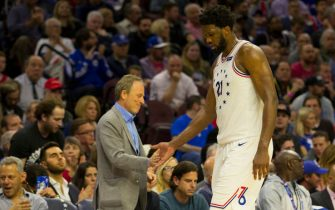PHILADELPHIA, PA - MAY 09: Owner Joshua Harris of the Philadelphia 76ers celebrates with Joel Embiid #21 against the Toronto Raptors in Game Six of the Eastern Conference Semifinals at the Wells Fargo Center on May 9, 2019 in Philadelphia, Pennsylvania. The 76ers defeated the Raptors 112-101. NOTE TO USER: User expressly acknowledges and agrees that, by downloading and or using this photograph, User is consenting to the terms and conditions of the Getty Images License Agreement. (Photo by Mitchell Leff/Getty Images)