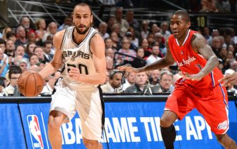 SAN ANTONIO - APRIL 24: Manu Ginobili #20 of the San Antonio Spurs handles the ball against the Los Angeles Clippers during Game Three of the Western Conference Quarterfinals at the AT&T Center on April 24, 2015 in San Antonio, Texas. NOTE TO USER: User expressly acknowledges and agrees that, by downloading and or using this photograph, user is consenting to the terms and conditions of the Getty Images License Agreement. Mandatory Copyright Notice: Copyright 2015 NBAE (Photos by Garrett Ellwood/NBAE via Getty Images)