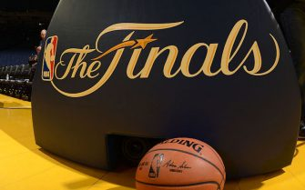 OAKLAND, CA - JUNE 4: A view of the Finals logo during practice and media availability as part of the 2016 NBA Finals on June 4, 2016 at ORACLE Arena in Oakland, California. NOTE TO USER: User expressly acknowledges and agrees that, by downloading and or using this photograph, User is consenting to the terms and conditions of the Getty Images License Agreement. Mandatory Copyright Notice: Copyright 2016 NBAE (Photo by Noah Graham/NBAE via Getty Images)