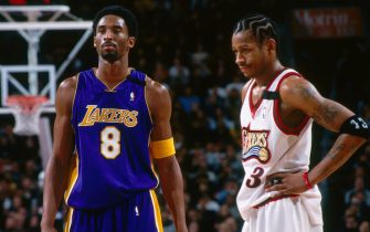PHILADELPHIA - FEBRUARY 20: Allen Iverson #3 of the Philadelphia 76ers and Kobe Bryant #8 of the Los Angeles Lakers stand during a game played on February 20, 2000 at the Wachovia Center in Philadelphia, Pennsylvania. NOTE TO USER: User expressly acknowledges and agrees that, by downloading and or using this photograph, User is consenting to the terms and conditions of the Getty Images License Agreement. Mandatory Copyright Notice: Copyright 1993 NBAE (Photo by Jesse D. Garrabrant/NBAE via Getty Images)