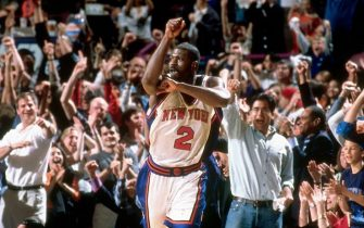 NEW YORK - MAY 29:  Larry Johnson #2 of the New York Knicks celebrates after he hit a three-point basket against the Indiana Pacers in game four of the Eastern Conference Semi-Finals at Madison Square Garden on May 29, 2000 in New York, New York.  NOTE TO USER:  User expressly acknowledges and agrees that, by downloading and/or using this Photograph, user is consenting to the terms and conditions of the Getty Images License Agreement. Mandatory Copyright Notice: Copyright 2000 NBAE (Photo by Nathaniel S. Butler/NBAE via Getty Images)