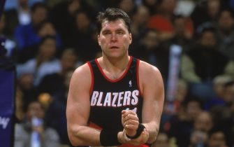 16 Nov 2000:  Arvydas Sabonis #11 of the Portland Trail Blazers walks on the court during the game against the Toronto Raptors at the Air Canada Centre in Toronto, Canada. The Blazers defeated the Raptors 86-80.    NOTE TO USER: It is expressly understood that the only rights Allsport are offering to license in this Photograph are one-time, non-exclusive editorial rights. No advertising or commercial uses of any kind may be made of Allsport photos. User acknowledges that it is aware that Allsport is an editorial sports agency and that NO RELEASES OF ANY TYPE ARE OBTAINED from the subjects contained in the photographs.Mandatory Credit: Robert Skeoch  /Allsport