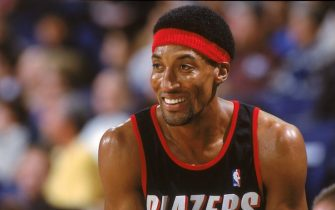 12 Dec 2000:  Scottie Pippen #33 of the Portland Trail Blazers smiles on the court during the game against the Golden State Warriors at The Arena of Oakland in California. The Trail Blazers defeated the Warriors 101-92. NOTE TO USER: It is expressly understood that the only rights Allsport are offering to license in this Photograph are one-time, non-exclusive editorial rights. No advertising or commercial uses of any kind may be made of Allsport photos. User acknowledges that it is aware that Allsport is an editorial sports agency and that NO RELEASES OF ANY TYPE ARE OBTAINED from the subjects contained in the photographs.Mandatory Credit: Jed Jacobsohn  /Allsport