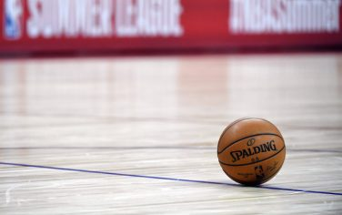 LAS VEGAS, NEVADA - JULY 07:  A basketball is shown on the court during a break in a game between the New York Knicks and the Phoenix Suns during the 2019 NBA Summer League at the Thomas & Mack Center on July 7, 2019 in Las Vegas, Nevada. NOTE TO USER: User expressly acknowledges and agrees that, by downloading and or using this photograph, User is consenting to the terms and conditions of the Getty Images License Agreement.  (Photo by Ethan Miller/Getty Images)