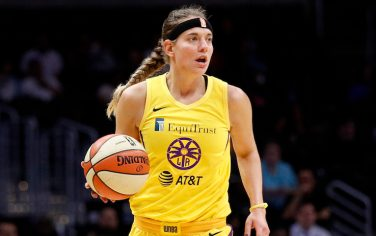 LOS ANGELES, CALIFORNIA - SEPTEMBER 05: Guard Sydney Wiese #24 of the Los Angeles Sparks handles the ball in the game against the Seattle Storm at Staples Center on September 05, 2019 in Los Angeles, California. NOTE TO USER: User expressly acknowledges and agrees that, by downloading and or using this photograph, User is consenting to the terms and conditions of the Getty Images License Agreement. (Photo by Meg Oliphant/Getty Images)