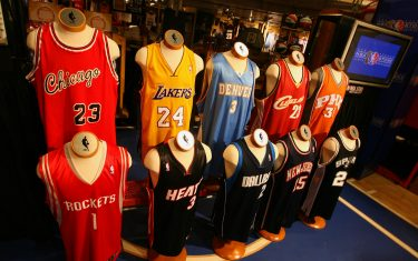 NEW YORK - MARCH 26: The top 10 NBA jersey sales are on display as part of the 10th anniversary of the NBA Store at the NBA Store on March 26, 2008 in New York City. NOTE TO USER: User expressly acknowledges and agrees that, by downloading and/or using this Photograph, user is consenting to the terms and conditions of the Getty Images License Agreement. Mandatory Copyright Notice: Copyright 2008 NBAE (Photo by Ned Dishman/NBAE via Getty Images)