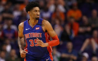 PHOENIX, ARIZONA - FEBRUARY 28: Christian Wood #35 of the Detroit Pistons reacts during the second half of the NBA game against the Phoenix Suns at Talking Stick Resort Arena on February 28, 2020 in Phoenix, Arizona. The Pistons defeated the Suns 113-111. NOTE TO USER: User expressly acknowledges and agrees that, by downloading and or using this photograph, user is consenting to the terms and conditions of the Getty Images License Agreement. Mandatory Copyright Notice: Copyright 2020 NBAE. (Photo by Christian Petersen/Getty Images)