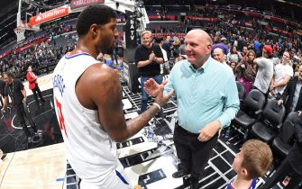 LOS ANGELES, CA - NOVEMBER 20:  Paul George #13 of the LA Clippers high fives Steve Ballmer after the game against the Boston Celtics on November 20, 2019 at STAPLES Center in Los Angeles, California. NOTE TO USER: User expressly acknowledges and agrees that, by downloading and/or using this Photograph, user is consenting to the terms and conditions of the Getty Images License Agreement. Mandatory Copyright Notice: Copyright 2019 NBAE (Photo by Andrew D. Bernstein/NBAE via Getty Images)