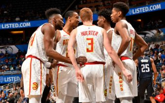 ORLANDO, FL - DECEMBER 30: The Atlanta Hawks huddle up during the game against the Orlando Magic on December 30, 2019 at Amway Center in Orlando, Florida. NOTE TO USER: User expressly acknowledges and agrees that, by downloading and or using this photograph, User is consenting to the terms and conditions of the Getty Images License Agreement. Mandatory Copyright Notice: Copyright 2019 NBAE (Photo by Gary Bassing/NBAE via Getty Images)