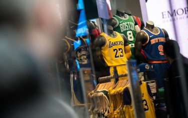 NEW YORK, NY - MARCH 12: NBA basketball team's sports wears are displayed at the NBA store on 5th Avenue on March 12, 2020 in New York City. The National Basketball Association said they would suspend all games after player Rudy Gobert of the Utah Jazz reportedly tested positive for the Coronavirus (COVID-19). (Photo by Jeenah Moon/Getty Images)