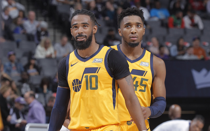 SACRAMENTO, CA - NOVEMBER 1: Mike Conley #10 and Donovan Mitchell #45 of the Utah Jazz look on during the game against the Sacramento Kings on November 1, 2019 at Golden 1 Center in Sacramento, California. NOTE TO USER: User expressly acknowledges and agrees that, by downloading and or using this photograph, User is consenting to the terms and conditions of the Getty Images Agreement. Mandatory Copyright Notice: Copyright 2019 NBAE (Photo by Rocky Widner/NBAE via Getty Images)