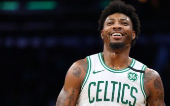 BOSTON, MASSACHUSETTS - JANUARY 22: Marcus Smart #36 of the Boston Celtics smiles during the game against the Memphis Grizzlies  at TD Garden on January 22, 2020 in Boston, Massachusetts. The Celtics defeat the Grizzlies 119-95.  (Photo by Maddie Meyer/Getty Images)