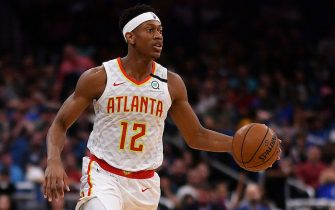 ORLANDO, FLORIDA - FEBRUARY 10: De'Andre Hunter #12 of the Atlanta Hawks in action in the second half against the Orlando Magic at Amway Center on February 10, 2020 in Orlando, Florida.  NOTE TO USER: User expressly acknowledges and agrees that, by downloading and/or using this photograph, user is consenting to the terms and conditions of the Getty Images License Agreement.  (Photo by Mark Brown/Getty Images)