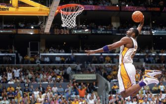 LOS ANGELES - JUNE 6:  Kobe Bryant #8 of the Los Angeles Lakers takes the ball to the basket during Game One of the 2004 NBA Finals against the Detroit Pistons at Staples Center on June 6, 2004 in Los Angeles, California.  The Pistons won 87-75.  NOTE TO USER:  User expressly acknowledges and agrees that, by downloading and/or using this Photograph, user is consenting to the terms and conditions of the Getty Images License Agreement. Mandatory Copyright Notice: Copyright 2004 NBAE (Photo by Andrew D. Bernstein/NBAE via Getty Images)