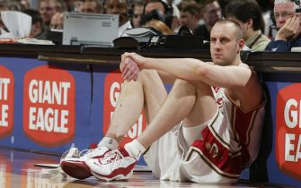 CLEVELAND- APRIL 3:  Zydrunas Ilgauskas #11 of the Cleveland Cavaliers sits on the sideline waiting to enter the game against the Golden State Warriors at Gund Arena on April 3, 2004 in Cleveland, Ohio.  The Warriors won 103-100.  NOTE TO USER: User expressly acknowledges and agrees that, by downloading and/or using this Photograph, User is consenting to the terms and conditions of the Getty Images License Agreement.  (Photo by David Liam Kyle/NBAE via Getty Images)