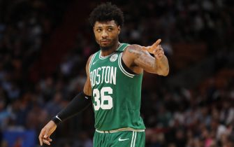 MIAMI, FLORIDA - JANUARY 28:  Marcus Smart #36 of the Boston Celtics reacts against the Miami Heat during the second half at American Airlines Arena on January 28, 2020 in Miami, Florida. NOTE TO USER: User expressly acknowledges and agrees that, by downloading and/or using this photograph, user is consenting to the terms and conditions of the Getty Images License Agreement.  (Photo by Michael Reaves/Getty Images)