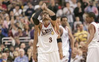 Philadelphia 76ers guard Allen Iverson Wednesday, Nov. 9, 2005 in Philadelphia, PA. The Philadelphia 76ers defeated the Dallas Mavericks 112-97.