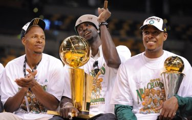 BOSTON - JUNE 19: Ray Allen, Kevin Garnett and Paul Pierce of the Boston Celtics celebrate before the NBA Championship Parade on June 19, 2008 in Boston, Massachusetts.  NOTE TO USER: User expressly acknowledges and agrees that, by downloading and/or using this Photograph, user is consenting to the terms and conditions of the Getty Images License Agreement. Mandatory Copyright Notice: Copyright 2008 NBAE (Photo by Brian Babineau/NBAE via Getty Images)