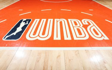 UNCASVILLE, CT - MAY 13: A close-up view of the WNBA logo on May 13, 2019 at the Mohegan Sun Arena in Uncasville, Connecticut.  NOTE TO USER: User expressly acknowledges and agrees that, by downloading and or using this photograph, User is consenting to the terms and conditions of the Getty Images License Agreement. Mandatory Copyright Notice: Copyright 2019 NBAE  (Photo by Ned Dishman/NBAE via Getty Images)