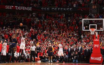 CHICAGO,IL : of the Chicago Bulls against the Cleveland Cavaliers at the United Center During Game Four of the Eastern Conference Semifinals during the 2015 NBA Playoffs on May 10, 2015 in Chicago,Illinois NOTE TO USER: User expressly acknowledges and agrees that, by downloading and/or using this Photograph, user is consenting to the terms and conditions of the Getty Images License Agreement. Mandatory Copyright Notice: Copyright 2015 NBAE (Photo by Jesse D. Garrabrant/NBAE via Getty Images)