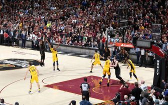 CLEVELAND, OH - APRIL 25:  LeBron James #23 of the Cleveland Cavaliers shoots the ball to win the game against the Indiana Pacers in Game Five of Round One of the 2018 NBA Playoffs on April 25, 2018 at Quicken Loans Arena in Cleveland, Ohio. NOTE TO USER: User expressly acknowledges and agrees that, by downloading and or using this photograph, user is consenting to the terms and conditions of Getty Images License Agreement. Mandatory Copyright Notice: Copyright 2018 NBAE (Photo by Nathaniel S. Butler/NBAE via Getty Images)