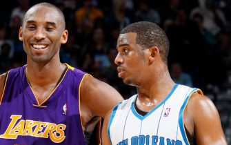 NEW ORLEANS -- DECEMBER 23: Kobe Bryant #24 of the Los Angeles Lakers exchanges words with Chris Paul #3 of the New Orleans Hornets on December 23, 2008 at the New Orleans Arena in New Orleans, Louisiana. NOTE TO USER: User expressly acknowledges and agrees that, by downloading and or using this Photograph, user is consenting to the terms and conditions of the Getty Images License Agreement. Mandatory Copyright Notice: Copyright 2008 NBAE (Photo by Layne Murdoch/NBAE via Getty Images)