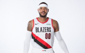 PORTLAND, OR - NOVEMBER 30: Carmelo Anthony #00 of the Portland Trail Blazers poses for a portrait November 30, 2019 at the Trail Blazer Practice Facility in Portland, Oregon. NOTE TO USER: User expressly acknowledges and agrees that, by downloading and or using this photograph, user is consenting to the terms and conditions of the Getty Images License Agreement. Mandatory Copyright Notice: Copyright 2019 NBAE (Photo by Sam Forencich/NBAE via Getty Images)