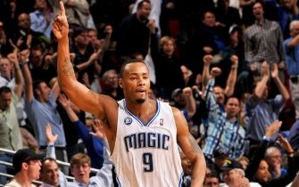 ORLANDO , FL - JANUARY 29: Rashard Lewis #9 of the Orlando Magic celebrates during the game against the Cleveland Cavaliers during the game on January 29, 2009 at Amway Arena in Orlando, Florida.  NOTE TO USER: User expressly acknowledges and agrees that, by downloading and or using this photograph, User is consenting to the terms and conditions of the Getty Images License Agreement. Mandatory Copyright Notice: Copyright 2009 NBAE  (Photo by Fernando Medina/NBAE via Getty Images)