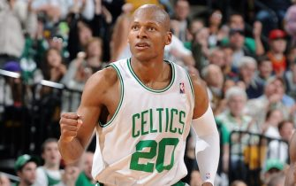 BOSTON - MARCH 8:  Ray Allen #20 of the Boston Celtics celebrates after scoring against the Orlando Magic on March 8, 2009 at the TD Banknorth Garden in Boston, Massachusetts.  NOTE TO USER: User expressly acknowledges and agrees that, by downloading and or using this photograph, User is consenting to the terms and conditions of the Getty Images License Agreement. Mandatory Copyright Notice: Copyright 2009 NBAE  (Photo by Brian Babineau/NBAE via Getty Images)