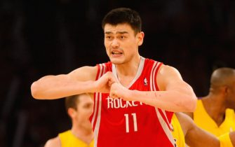 LOS ANGELES, CA - APRIL 03:  Yao Ming #11 of the Houston Rockets gestures to a referee during the second half against the Los Angeles Lakers at Staples Center on April 3, 2009 in Los Angeles, California. The Lakers defeated the Rockets 93-81. NOTE TO USER: User expressly acknowledges and agrees that, by downloading and/or using this Photograph, user is consenting to the terms and conditions of the Getty Images License Agreement.  (Photo by Jeff Gross/Getty Images)