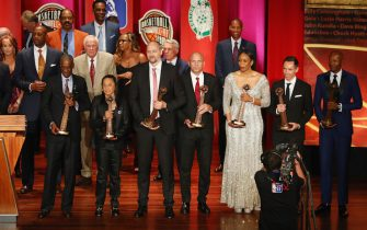 during the 2018 Basketball Hall of Fame Enshrinement Ceremony at Symphony Hall on September 7, 2018 in Springfield, Massachusetts.
