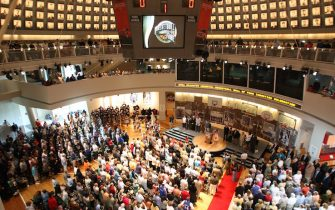 SPRINGFIELD, MA - SEPTEMBER 9:  A general view of the main event room during the 2006 Basketball Hall of Fame induction celebration on September 9, 2006 at the Naismith Memorial Basketball Hall of Fame in Springfield, Massachusetts.  NOTE TO USER: User expressly acknowledges and agrees that, by downloading and or using this photograph, User is consenting to the terms and conditions of the Getty Images License Agreement. Mandatory Copyright Notice: Copyright 2006 NBAE  (Photo by Ned Dishman/NBAE via Getty Images)