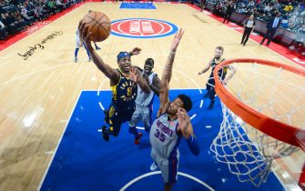 DETROIT, MI - DECEMBER 6: Justin Holiday #8 of the Indiana Pacers shoots the ball against the Detroit Pistons on December 6, 2019 at Little Caesars Arena in Detroit, Michigan. NOTE TO USER: User expressly acknowledges and agrees that, by downloading and/or using this photograph, User is consenting to the terms and conditions of the Getty Images License Agreement. Mandatory Copyright Notice: Copyright 2019 NBAE (Photo by Chris Schwegler/NBAE via Getty Images)