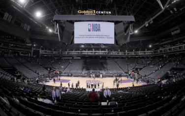 SACRAMENTO, CA - MARCH 12: A shot of the arena after the NBA announces that the game between the New Orleans Pelicans and Sacramento Kings wil be postponed on March 12, 2020 at Golden 1 Center in Sacramento, California. NOTE TO USER: User expressly acknowledges and agrees that, by downloading and or using this photograph, User is consenting to the terms and conditions of the Getty Images Agreement. Mandatory Copyright Notice: Copyright 2020 NBAE (Photo by Rocky Widner/NBAE via Getty Images)
