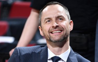 PORTLAND, OR - MAY 3: General Manager Arturas Karnisovas of the Denver Nuggets looks on before Game Three of the Western Conference Semifinals against the Portland Trail Blazers during the 2019 NBA Playoffs on May 3, 2019 at the Moda Center Arena in Portland, Oregon. NOTE TO USER: User expressly acknowledges and agrees that, by downloading and/or using this photograph, user is consenting to the terms and conditions of the Getty Images License Agreement. Mandatory Copyright Notice: Copyright 2019 NBAE (Photo by Garrett Ellwood/NBAE via Getty Images)