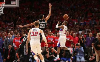 the San Antonio Spurs the Los Angeles Clippers during Game Seven of the Western Conference quarterfinals of the 2015 NBA Playoffs at Staples Center on May 2, 2015 in Los Angeles, California.  The Clippers won 111-109 to win the series four games to three.  NOTE TO USER: User expressly acknowledges and agrees that, by downloading and or using this photograph, User is consenting to the terms and conditions of the Getty Images License Agreement.   (Photo by Stephen Dunn/Getty Images)