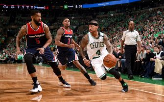 BOSTON, MA - MAY 15:  Isaiah Thomas #4 of the Boston Celtics goes to the basket against the Washington Wizards during Game Seven of the Eastern Conference Semifinals of the 2017 NBA Playoffs on May 15, 2017 at TD Garden in Boston, MA. NOTE TO USER: User expressly acknowledges and agrees that, by downloading and or using this Photograph, user is consenting to the terms and conditions of the Getty Images License Agreement. Mandatory Copyright Notice: Copyright 2017 NBAE (Photo by Brian Babineau/NBAE via Getty Images)