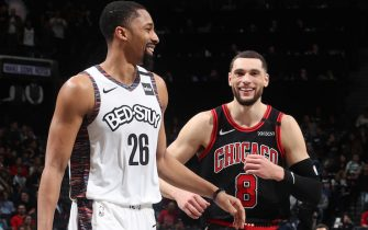 BROOKLYN, NY - JANUARY 31: Spencer Dinwiddie #26 of the Brooklyn Nets and Zach LaVine #8 of the Chicago Bulls shares a laugh during the game on January 31, 2020 at Barclays Center in Brooklyn, New York. NOTE TO USER: User expressly acknowledges and agrees that, by downloading and or using this Photograph, user is consenting to the terms and conditions of the Getty Images License Agreement. Mandatory Copyright Notice: Copyright 2020 NBAE (Photo by Nathaniel S. Butler/NBAE via Getty Images)