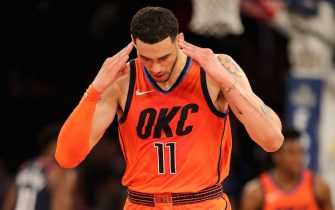 NEW YORK, NEW YORK - JANUARY 21:   Abdel Nader #11 of the Oklahoma City Thunder celebrates his three point shot in the fourth quarter against the New York Knicks at Madison Square Garden on January 21, 2019 in New York City.NOTE TO USER: User expressly acknowledges and agrees that, by downloading and or using this photograph, User is consenting to the terms and conditions of the Getty Images License Agreement.  (Photo by Elsa/Getty Images)