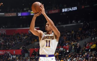 LOS ANGELES, CA - MARCH 8: Avery Bradley #11 of the Los Angeles Lakers shoots a three point basket during the game against the LA Clippers on March 8, 2020 at STAPLES Center in Los Angeles, California. NOTE TO USER: User expressly acknowledges and agrees that, by downloading and/or using this Photograph, user is consenting to the terms and conditions of the Getty Images License Agreement. Mandatory Copyright Notice: Copyright 2020 NBAE (Photo by Andrew D. Bernstein/NBAE via Getty Images)