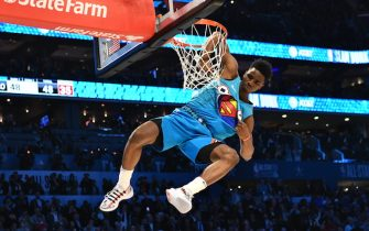 CHARLOTTE, NC - FEBRUARY 16: Hamidou Diallo #6 of the Oklahoma City Thunder dunks the ball during the 2019 AT&T Slam Dunk Contest during the 2019 AT&T Slam Dunk Contest as part of the State Farm All-Star Saturday Night on February 16, 2019 at Spectrum Center in Charlotte, North Carolina. NOTE TO USER: User expressly acknowledges and agrees that, by downloading and or using this photograph, User is consenting to the terms and conditions of the Getty Images License Agreement.  Mandatory Copyright Notice:  Copyright 2019 NBAE (Photo by Jesse D. Garrabrant/NBAE via Getty Images)