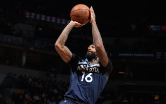 MINNEAPOLIS, MN -  MARCH 8: James Johnson #16 of the Minnesota Timberwolves shoots the ball against the New Orleans Pelicans  on March 8, 2020 at Target Center in Minneapolis, Minnesota. NOTE TO USER: User expressly acknowledges and agrees that, by downloading and or using this Photograph, user is consenting to the terms and conditions of the Getty Images License Agreement. Mandatory Copyright Notice: Copyright 2020 NBAE (Photo by David Sherman/NBAE via Getty Images)