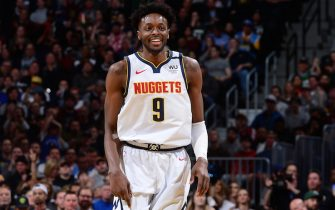 DENVER, CO - MARCH 9: Jerami Grant #9 of the Denver Nuggets smiles during the game against the Milwaukee Bucks on March 09, 2020 at the Pepsi Center in Denver, Colorado. NOTE TO USER: User expressly acknowledges and agrees that, by downloading and/or using this Photograph, user is consenting to the terms and conditions of the Getty Images License Agreement. Mandatory Copyright Notice: Copyright 2020 NBAE (Photo by Bart Young/NBAE via Getty Images)