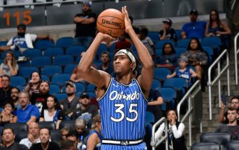 ORLANDO, FL - APRIL 5: Melvin Frazier Jr. #35 of the Orlando Magic shoots the ball against the Atlanta Hawks on April 5, 2019 at Amway Center in Orlando, Florida. NOTE TO USER: User expressly acknowledges and agrees that, by downloading and or using this photograph, User is consenting to the terms and conditions of the Getty Images License Agreement. Mandatory Copyright Notice: Copyright 2019 NBAE (Photo by Gary Bassing/NBAE via Getty Images)